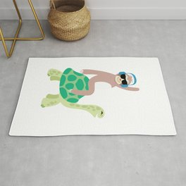 Funny Lazy Sloth Riding Sea Turtle Hona Gift Rug
