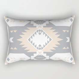 Southwestern Navajo Tribal, Gray, White, and Nude Blush Rectangular Pillow