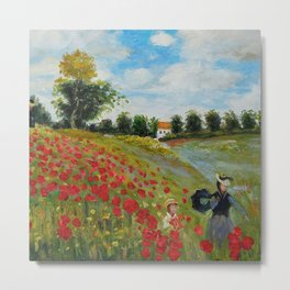 Poppy Field in Argenteuil by Claude Monet Metal Print