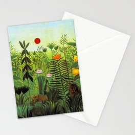 """Henri Rousseau """"Exotic Landscape with Lion and Lioness in Africa"""" Stationery Cards"""
