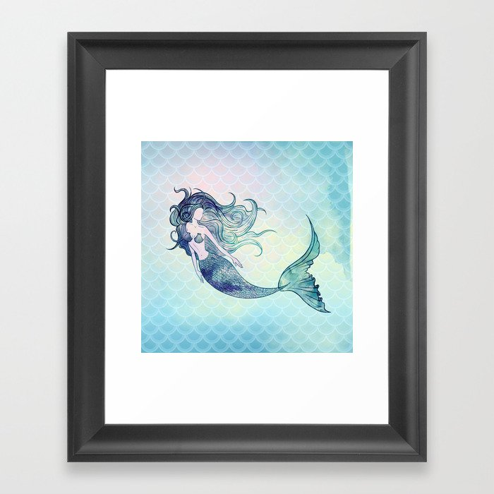 Watercolor Mermaid Gerahmter Kunstdruck