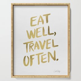 Eat Well Travel Often on Gold Serving Tray