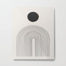 Abstract Circle and Lines in Black on Cream Metal Print