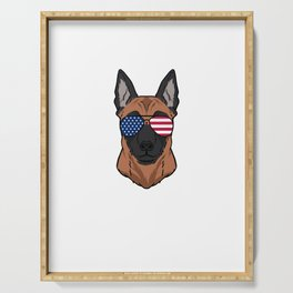 Patriotic America Malinois Dog Owner Gift Serving Tray