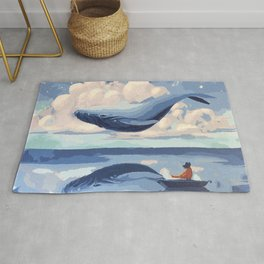 Magnificent Flying Levitating Fantasy Blue Whale Reflection Fisher Boat Dreamland Ultra HD Rug