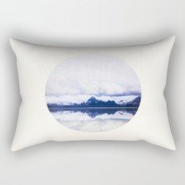 Mid Century Modern Round Circle Photo Graphic Design Navy Blue Arctic Mountains Rectangular Pillow