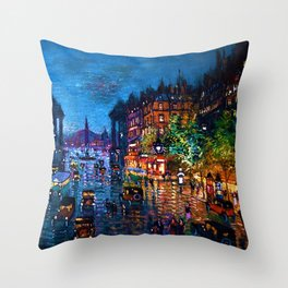 'Paris Boulevard' Night Scene Landscape Paitning by Konstantin Korovin Throw Pillow
