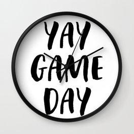 Yay Game Day Football Sports Black Wall Clock