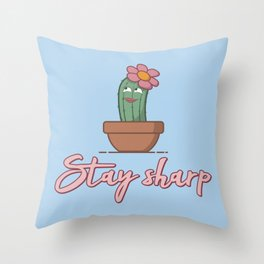 Stay Sharp - Funny Cactus Pun Gift Throw Pillow