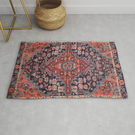 West Persia 19th Century Authentic Colorful Red Blue Star Vintage Patterns Rug