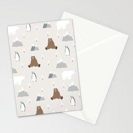 Polar Bear Penguin Christmas Pattern Stationery Cards
