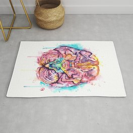 Human Brain - Anatomical Brean In Watercolor by Lisa Whitehouse Rug