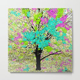 TREES PINK AND GREEN ABSTRACT Metal Print