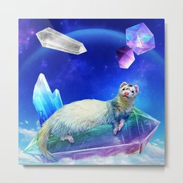 Ferret in the Sky with Crystals Metal Print