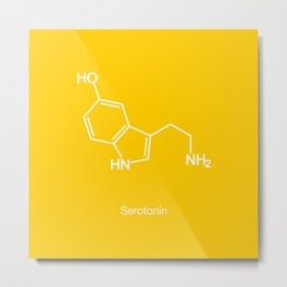 Serotonin Molecule Metal Print