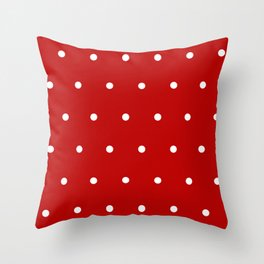 Red and White Polka Dots Pattern Throw Pillow