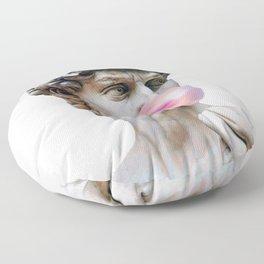 Marble sculpture Art, statue of David blowing pink gum Floor Pillow