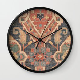 Geometric Leaves IV // 18th Century Distressed Red Blue Green Colorful Ornate Accent Rug Pattern Wall Clock