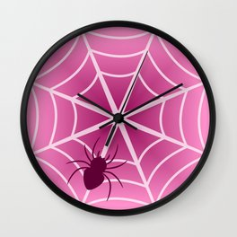 Spider web in pink Wall Clock