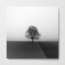 Lonely tree in fog black and white Metal Print