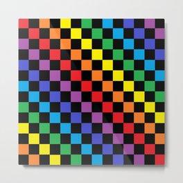 Checkered Rainbow Black Metal Print
