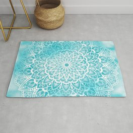 Blue Sky Mandala in Turquoise Blue and White Rug