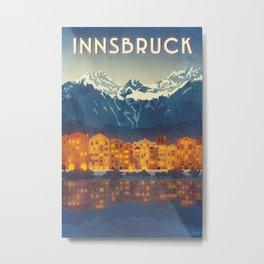 Innsbruck, Austria vintage style travel poster, Austria print, Innsbruck print Metal Print