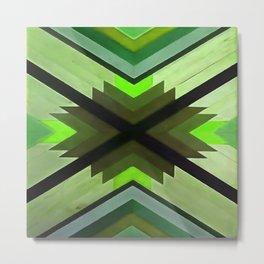 Navaho Vibes Geometric Pattern - Black Olive Lime Metal Print