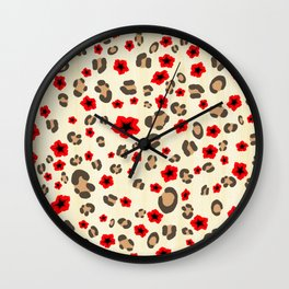 Romantic Leopard Print Pattern with Red Flowers Wall Clock