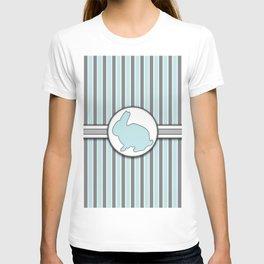 Rabbit on Blue Stripes Pattern Design T-shirt