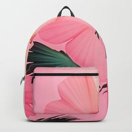 Tropical Pink Hibiscus Flower Print Backpack
