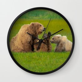 Grizzly Bear Family Wall Clock