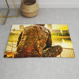 Pittsburgh City Skyline Fred Rogers Statue Rug