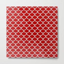 Red fish scales pattern Metal Print
