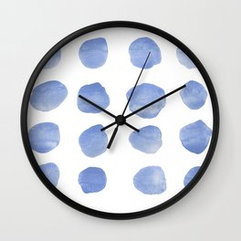 Watercolor polka king blue pattern Wall Clock
