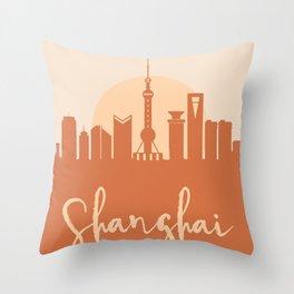 SHANGHAI CHINA CITY SUN SKYLINE EARTH TONES Throw Pillow