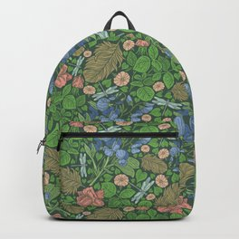 Blue sweet peas with pink roses and dragonflie on green background Backpack