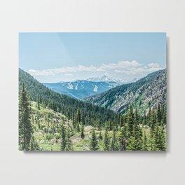 Mountain Landscape // Ski Resort Runs in Summer Epic Green Forest Wilderness Photograph Metal Print
