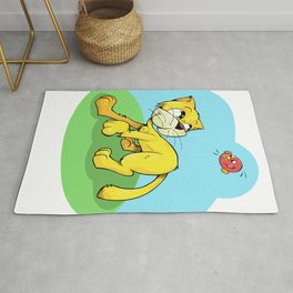 Funny Cat and Red Sparrow Rug