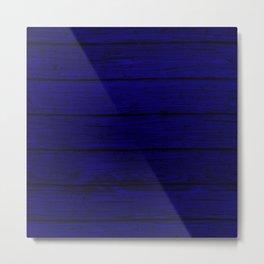 Blue Wood Board Metal Print