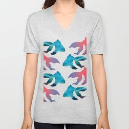 Pattern Oil Painting Abstract Tropical Fish Unisex V-Neck