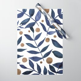 Watercolor berries and branches - indigo and beige Wrapping Paper