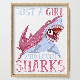 Girl Loves Sharks Serving Tray
