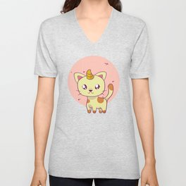 Cat Graphic Caticorn Cat Clipart Unisex V-Neck