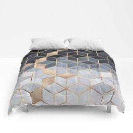 Soft Blue Gradient Cubes Comforters