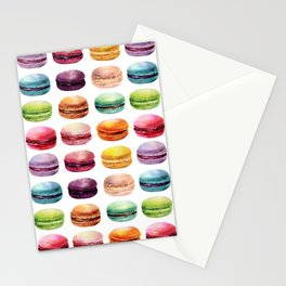 Macaroons in pop color. Delicious French Desserts. Stationery Cards