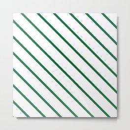 Diagonal Lines (Dark Green & White Pattern) Metal Print