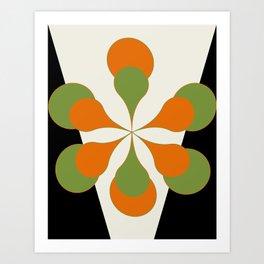Mid-Century Modern Art 1.4 - Green & Orange Flower Art Print