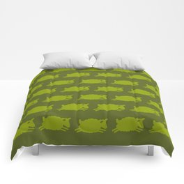 Counting Sheep. Green on Olive. Comforters