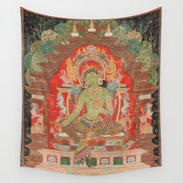 Green Tara 13th Century Tibetan Art Wall Tapestry